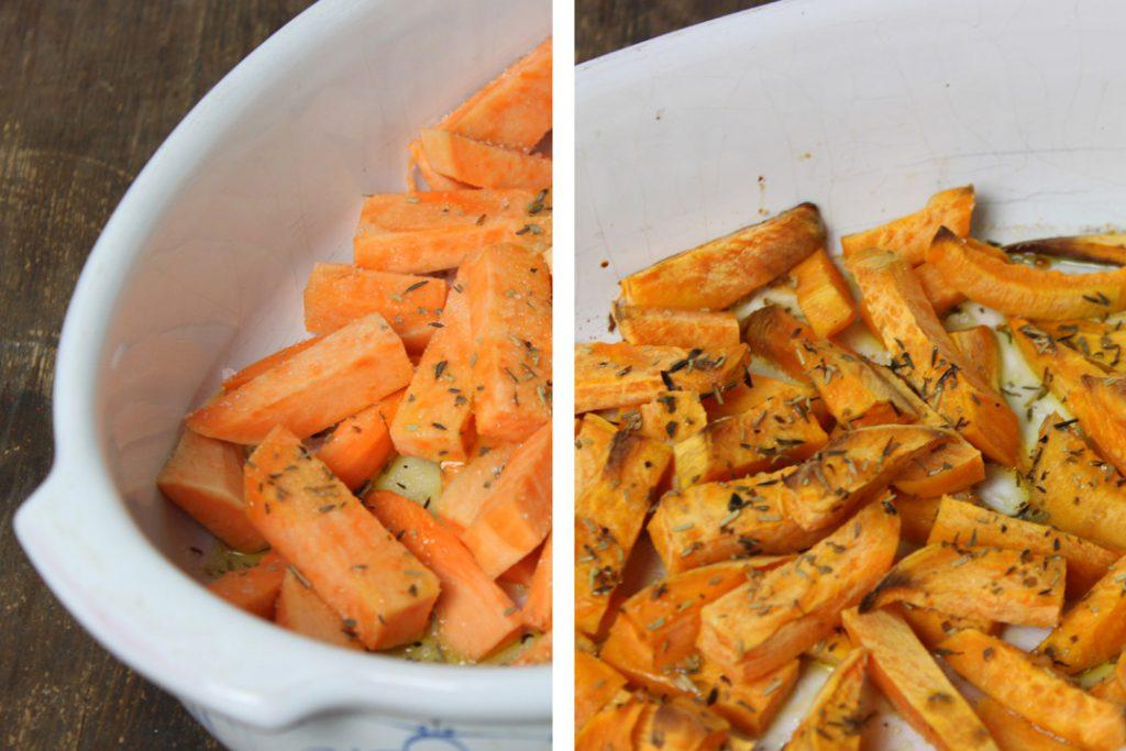 Für die vegane Süßkartoffel Falafel die Süßkartoffel circa 30 Minuten bei 200 Grad backen