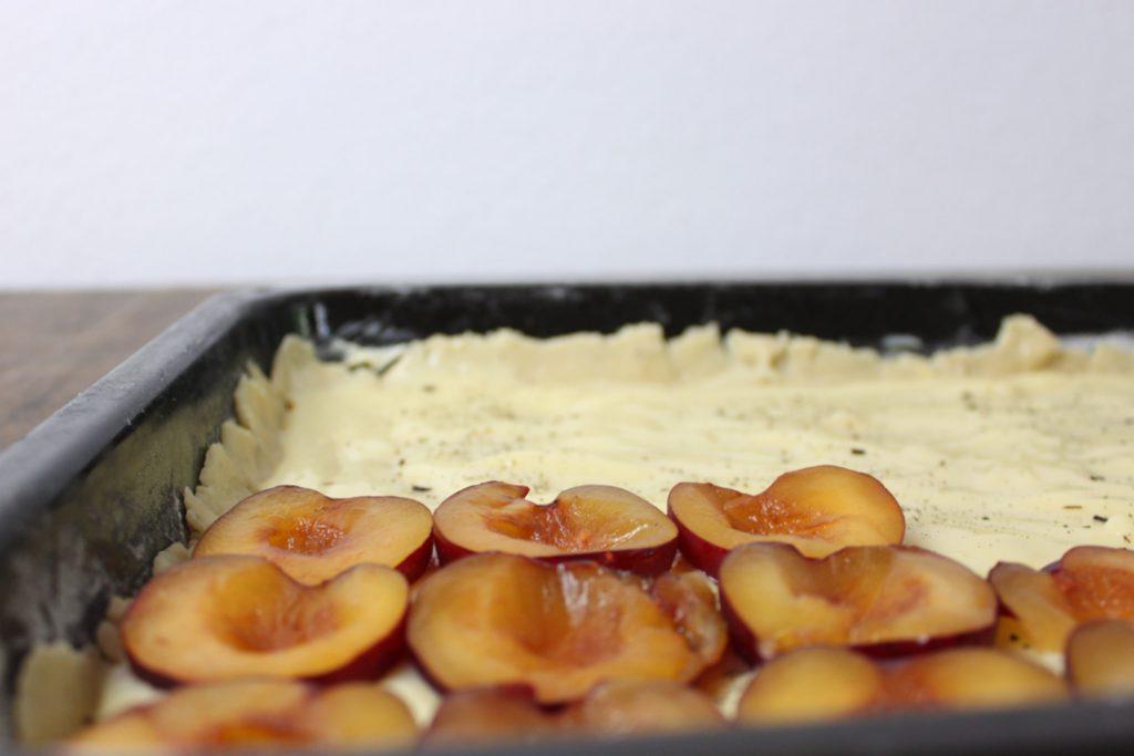 Den Pudding auf das Blech geben und mit den Pflaumenhälften belegen