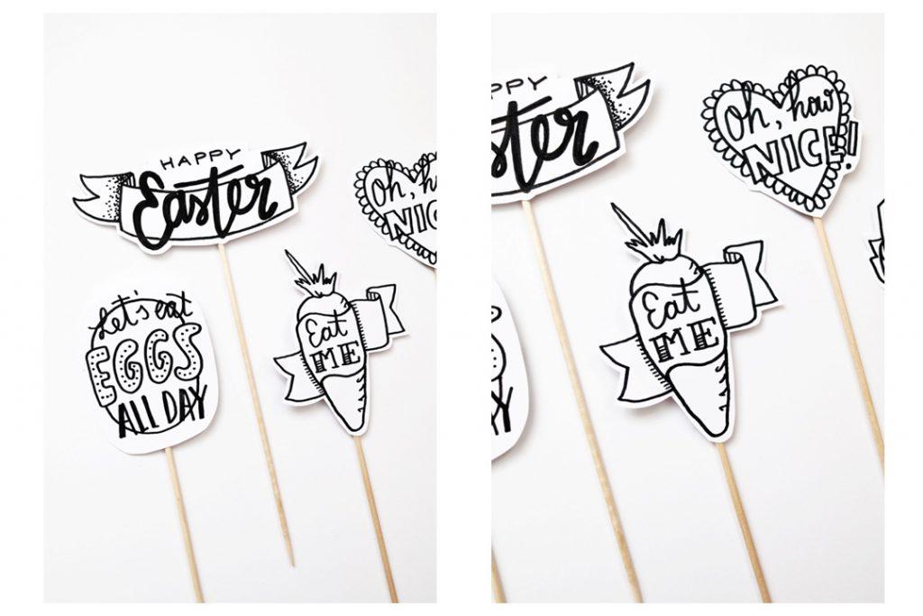 Euer Oster Handlettering könnt Ihr beispielsweise als Cake Topper verwenden - photo: Luloveshandmade