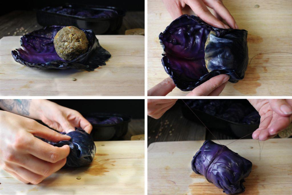 Die Rotkohl-Linsen-Rouladen mit Hilfe eines Fadens wickeln