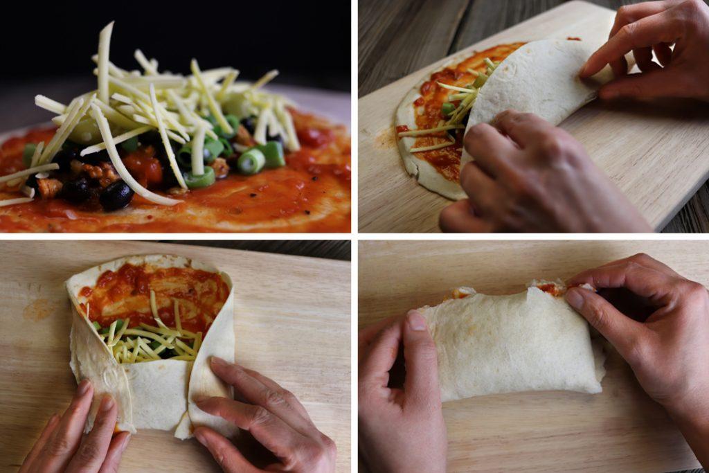 Vegane Enchiladas nach Anleitung füllen und rollen